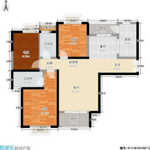 紫薇希望城3室0厅2卫1厨121.00㎡户型图