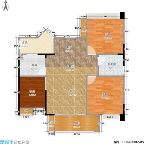 秋实大厦3室1厅1卫1厨107.00㎡户型图
