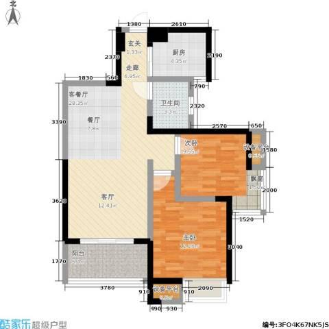 新长江香榭琴台四期墨园2室1厅1卫1厨88.00㎡户型图