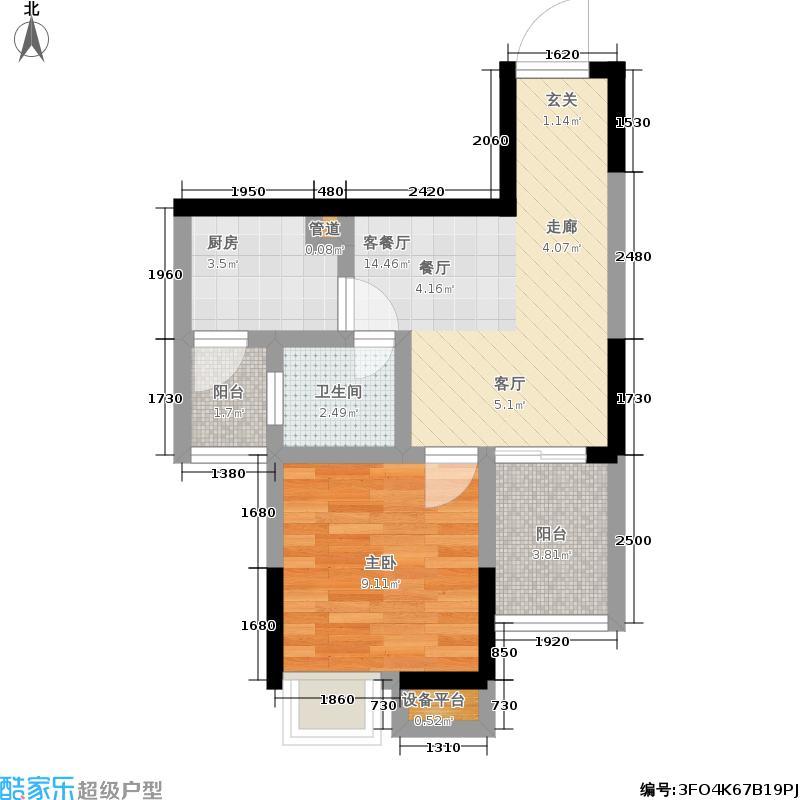 新长江香榭琴台四期墨园49.00㎡新长江香榭琴台二期4-6号楼户型A11室1厅户型1室1厅1卫