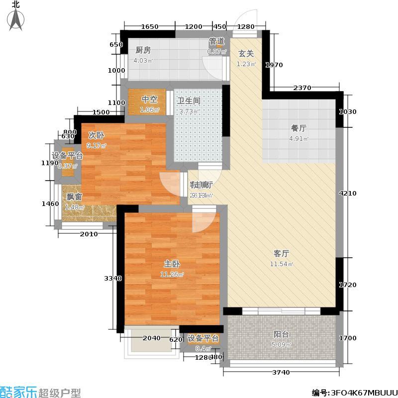 新长江香榭琴台四期墨园81.00㎡新长江香榭琴台二期4-6号楼户型B12室2厅户型2室2厅1卫