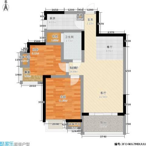新长江香榭琴台四期墨园2室1厅1卫1厨81.00㎡户型图