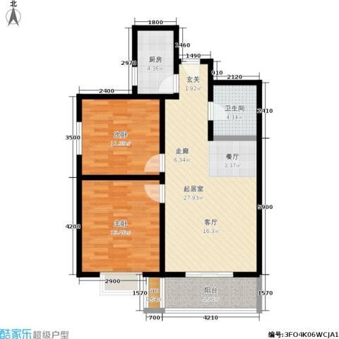 东方名苑2室0厅1卫1厨80.00㎡户型图