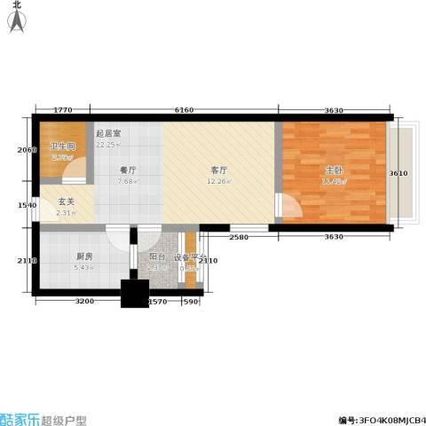 南门国际1室0厅1卫1厨53.00㎡户型图