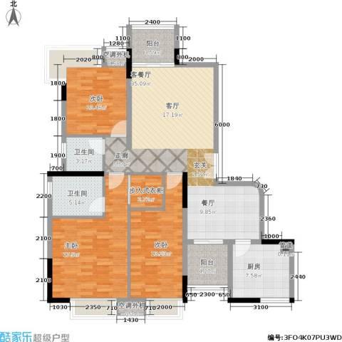 半山溪谷E墅3室1厅2卫1厨124.00㎡户型图