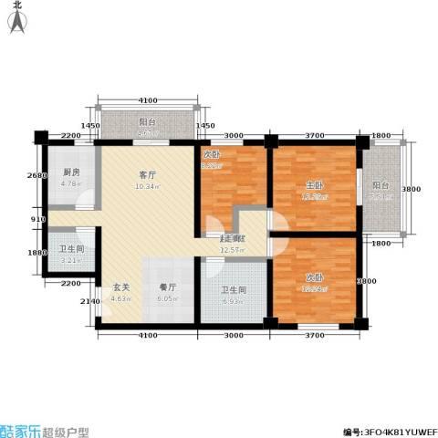 唐园假日新城3室0厅2卫1厨121.00㎡户型图