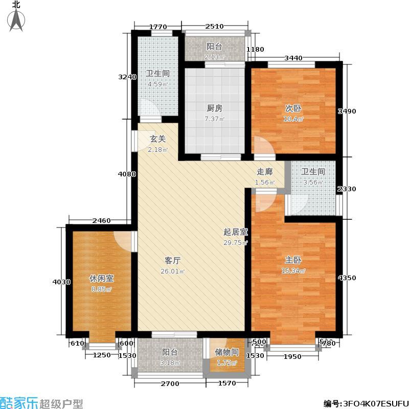 海华山景100.28㎡南向客厅南向卧室书房户型