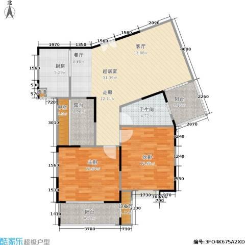 塞纳河畔2室0厅1卫1厨90.00㎡户型图