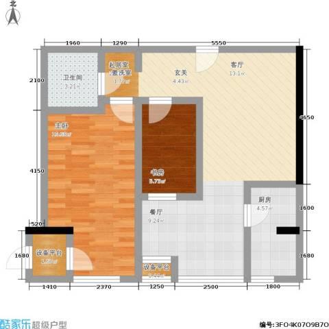 望庭国际2室0厅1卫1厨89.00㎡户型图