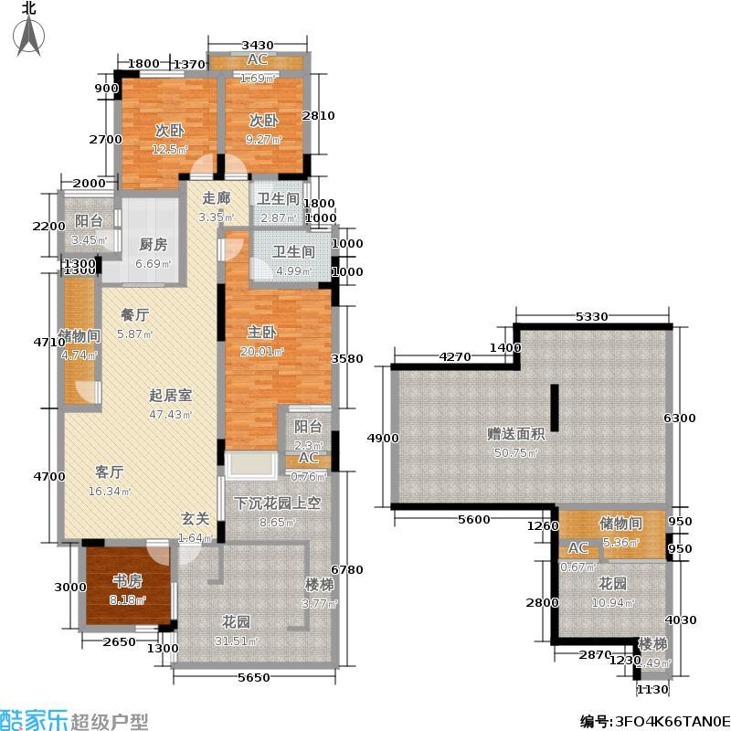 金科天湖小镇154.00㎡39号楼A户型 四室两厅两卫 赠送面积131平米户型4室2厅2卫
