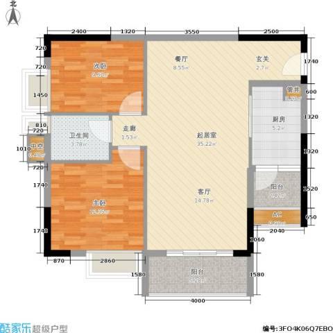 荔江美筑2室0厅1卫1厨85.00㎡户型图