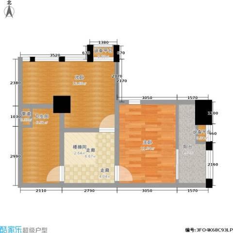 壹加壹空间2室0厅1卫0厨65.00㎡户型图