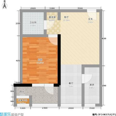 望庭国际1室0厅1卫1厨64.00㎡户型图
