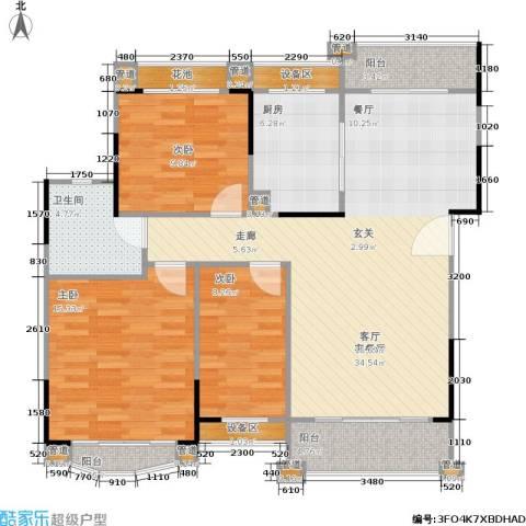 丹霞翠微苑3室1厅1卫1厨105.00㎡户型图