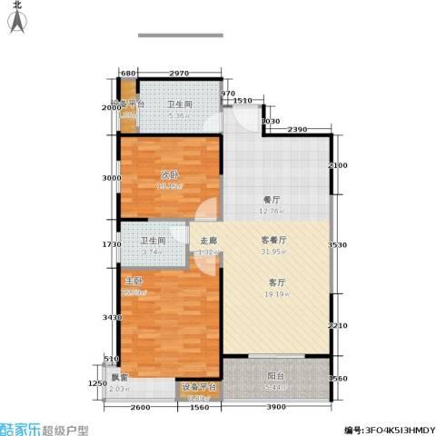 福邸铭门2室1厅2卫0厨91.00㎡户型图