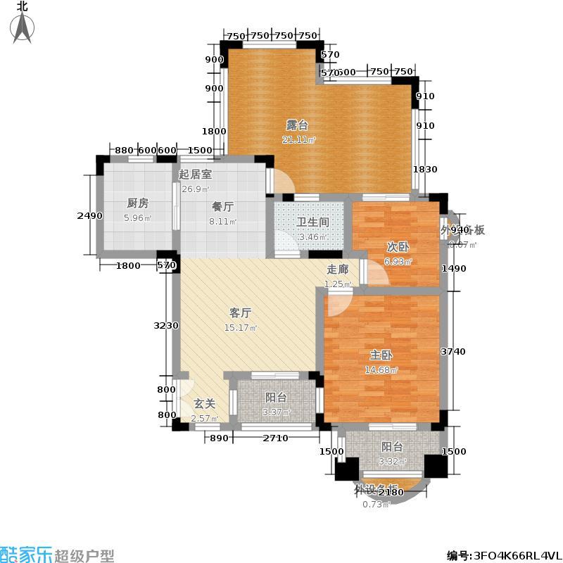 中国诺贝尔城100.00㎡南入户退台花园洋房五层HN-A5户型