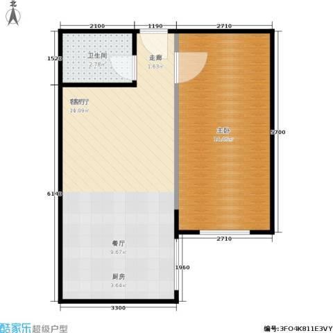 澳城大厦1室1厅1卫0厨51.00㎡户型图