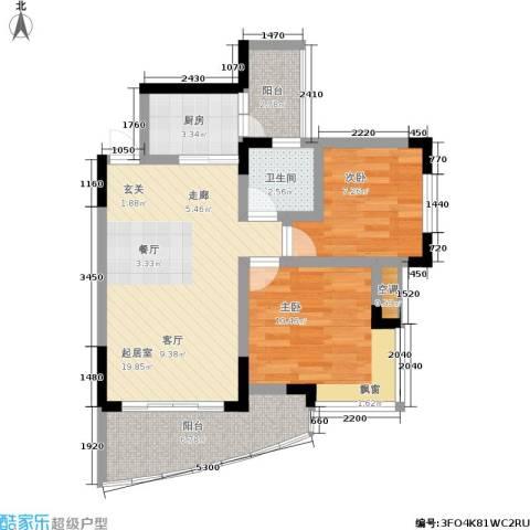 蔚蓝时光2室0厅1卫1厨63.00㎡户型图