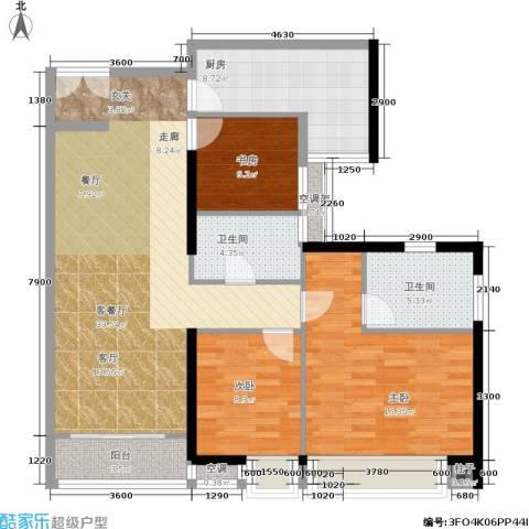嘉宝华庭3室1厅2卫1厨105.00㎡户型图
