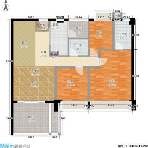 时代花生3室1厅2卫1厨120.00㎡户型图