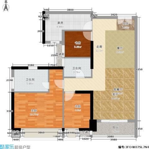 嘉宝华庭3室1厅2卫1厨108.00㎡户型图