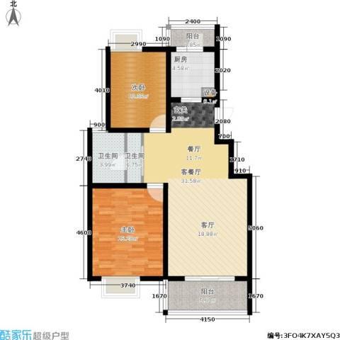 宋都西湖花苑2室1厅2卫1厨95.00㎡户型图