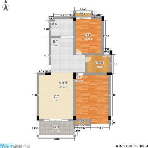 月亮湾亲水嘉园2室1厅1卫1厨87.00㎡户型图