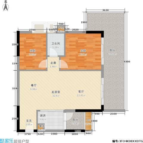 荔江美筑2室0厅1卫1厨88.00㎡户型图