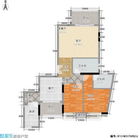 半山溪谷E墅2室1厅2卫1厨121.00㎡户型图