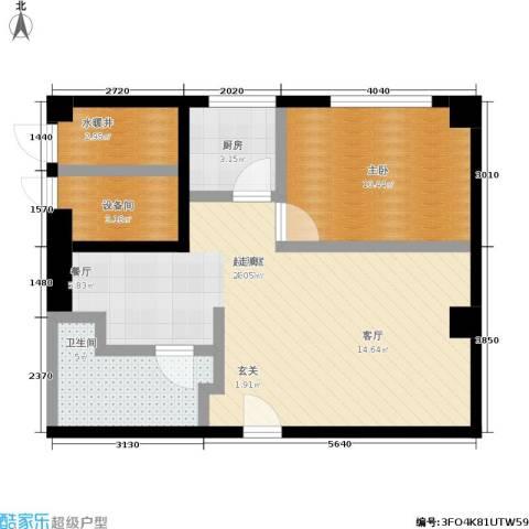 舜江广场1室0厅1卫1厨61.00㎡户型图