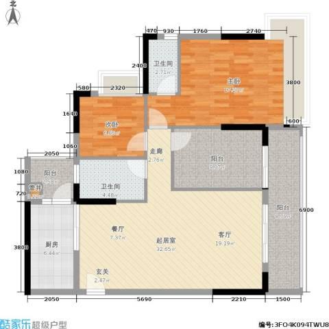 荔江美筑2室0厅2卫1厨112.00㎡户型图