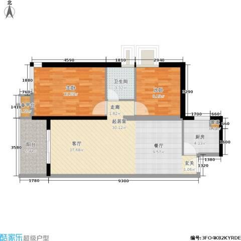 泉舜泉水湾2室0厅1卫1厨85.00㎡户型图