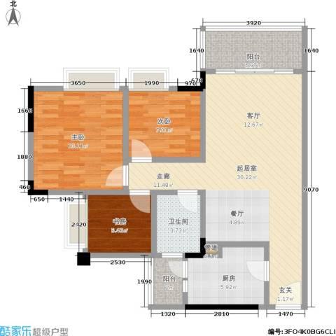 城市假日园3室0厅1卫1厨83.00㎡户型图