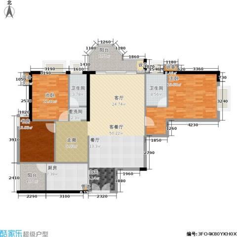 珠江广场3室1厅2卫1厨131.96㎡户型图