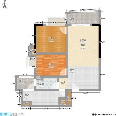 中惠俪城2室0厅1卫1厨77.00㎡户型图
