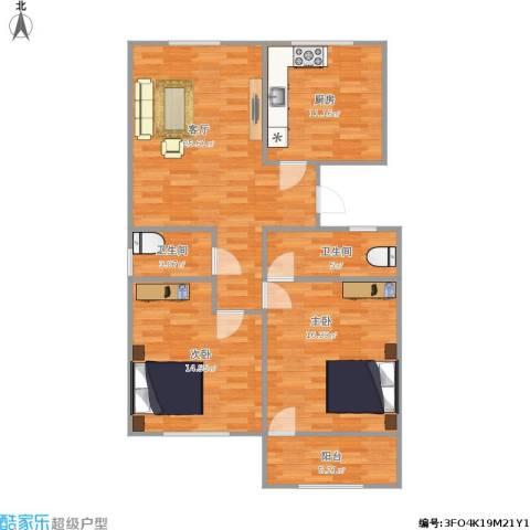 华丰居2室1厅2卫1厨109.00㎡户型图