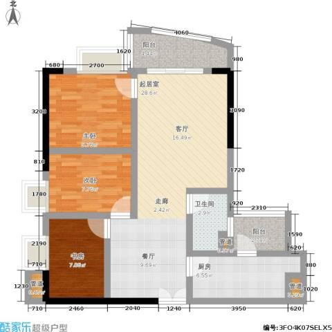 中惠俪城3室0厅1卫1厨91.00㎡户型图
