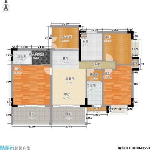 岭南公馆3室1厅2卫1厨143.00㎡户型图