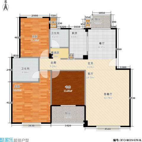 七里晴川3室1厅2卫1厨120.00㎡户型图