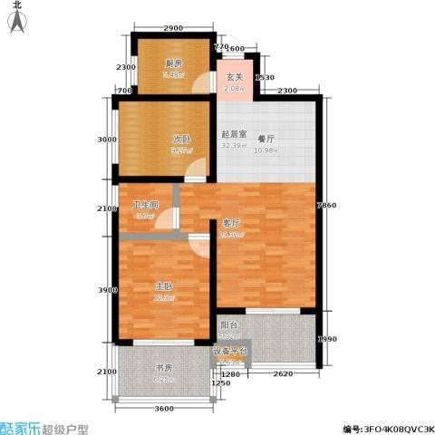 曲江观唐3室0厅1卫1厨86.00㎡户型图