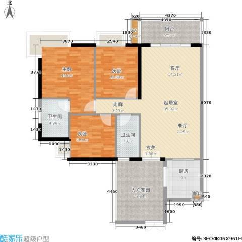 富力盛悦居3室0厅2卫1厨121.00㎡户型图