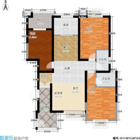 金泰假日花城3室0厅2卫1厨127.00㎡户型图