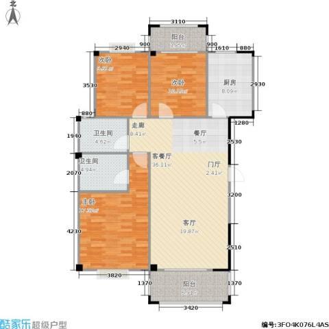 五里汉城3室1厅2卫1厨109.25㎡户型图