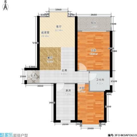 国际幸福城2室0厅1卫1厨78.00㎡户型图