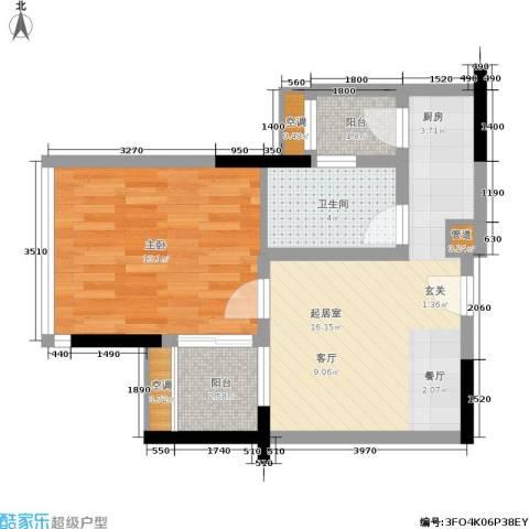 珠江新岸公寓1室0厅1卫0厨46.00㎡户型图