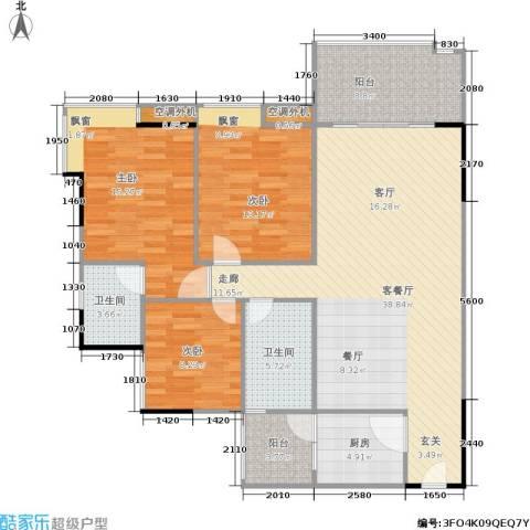 福星颐美香庭3室1厅2卫1厨105.00㎡户型图