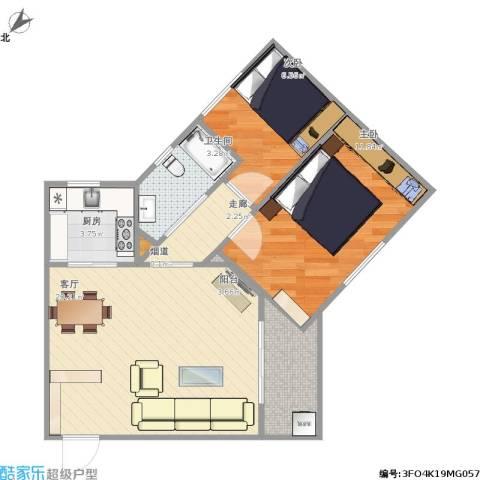 广海花园2室1厅1卫1厨71.00㎡户型图