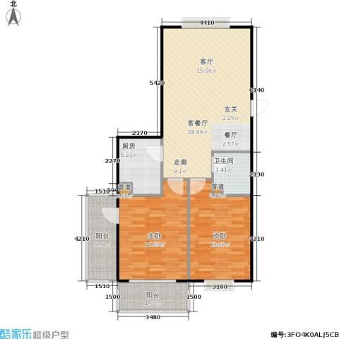 山大新苑2室1厅1卫1厨102.00㎡户型图