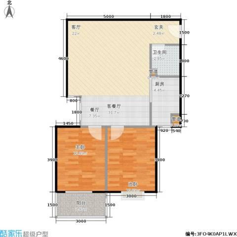 山大新苑2室1厅1卫1厨87.00㎡户型图