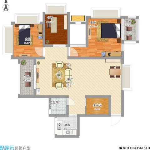 朱家角镇B3、B4地块3室1厅1卫1厨128.00㎡户型图